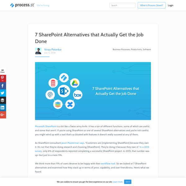 7 SharePoint Alternatives that Actually Get the Job Done | Process Street | Checklist, Workflow and SOP Software