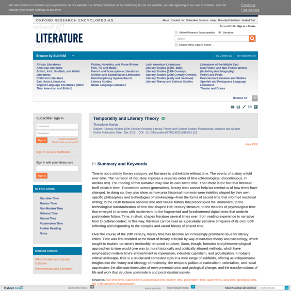 Temporality and Literary Theory - Oxford Research Encyclopedia of Literature