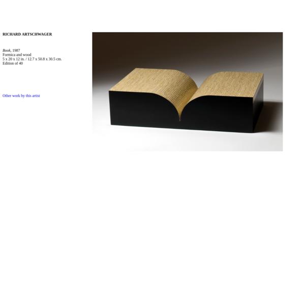 Richard Artschwager Book (edition)