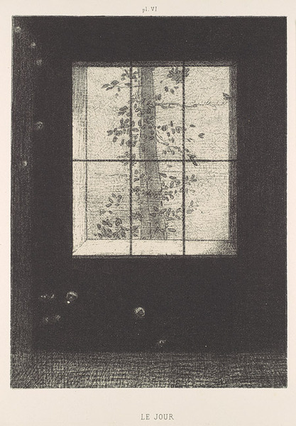 """As a shy and lonely boy in his uncle's remote old house, Redon discovered that books, pictures, and music opened windows onto marvelous vistas. From his childhood on, he maintained an attachment to a world of fantasy and dreams that he often pictured in charcoal drawings and lithographs he called noirs, for both their essential substance and resonance were black. """"One must respect black,"""" he wrote. """"Nothing prostitutes it. It does not please the eye and it awakens no sensuality. It is the agent of the mind far more than the most beautiful color to the palette or prism."""""""