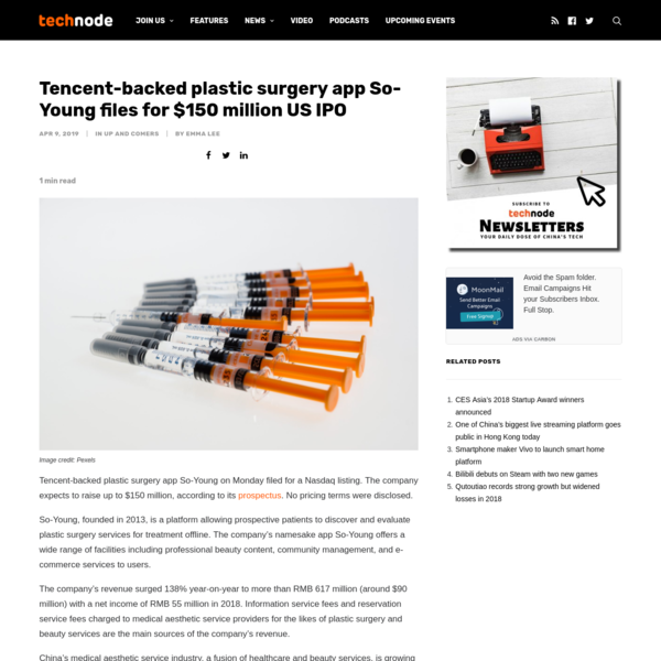 Tencent-backed plastic surgery app So-Young files for $150 million US IPO · TechNode