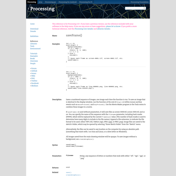 Processing is a flexible software sketchbook and a language for learning how to code within the context of the visual arts. Since 2001, Processing has promoted software literacy within the visual arts and visual literacy within technology.