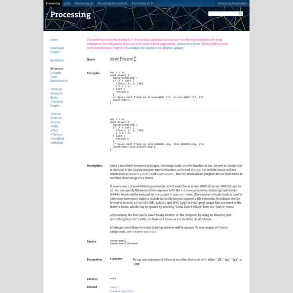 saveFrame() \ Language (API) \ Processing 3+