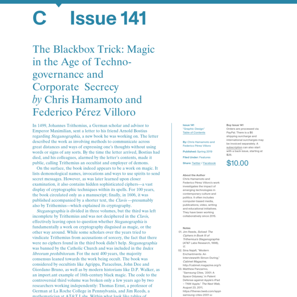 C Magazine / The Blackbox Trick: Magic in the Age of Techno-governance and Corporate Secrecy