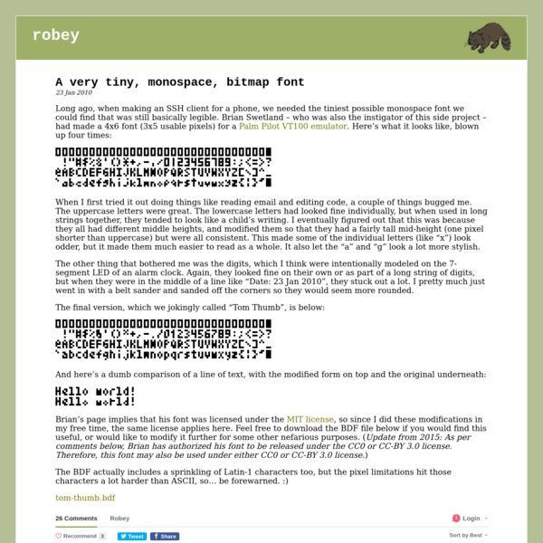 A very tiny, monospace, bitmap font