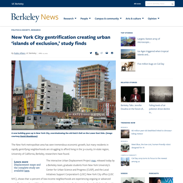 New York City gentrification creating urban 'islands of exclusion,' study finds | Berkeley News