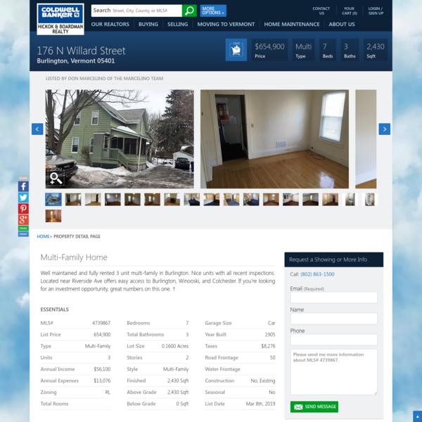176 N Willard Street Burlington, Vermont - Coldwell Banker Hickok & Boardman Realty