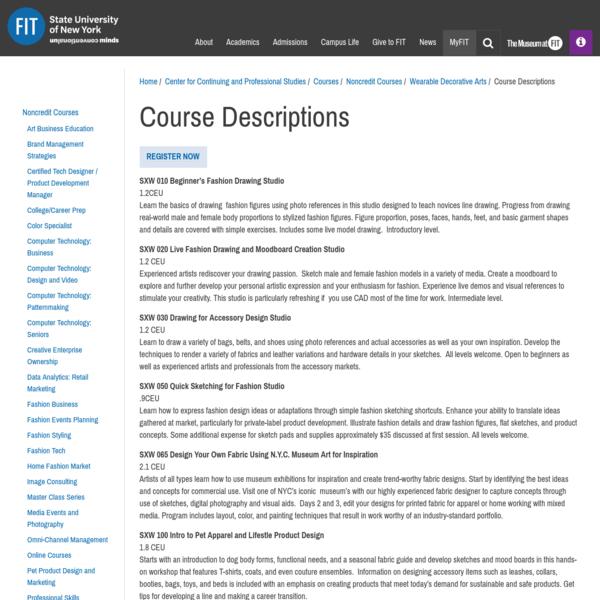 Course Descriptions   Fashion Institute of Technology