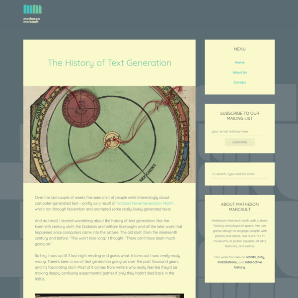 The History of Text Generation