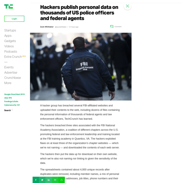 Hackers publish personal data on thousands of US police officers and federal agents – TechCrunch