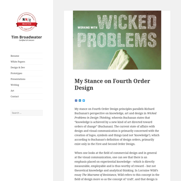 My Stance on Fourth Order Design | Tim Broadwater