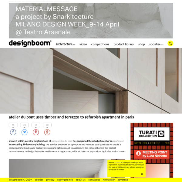 atelier du pont uses timber and terrazzo to refurbish apartment in paris