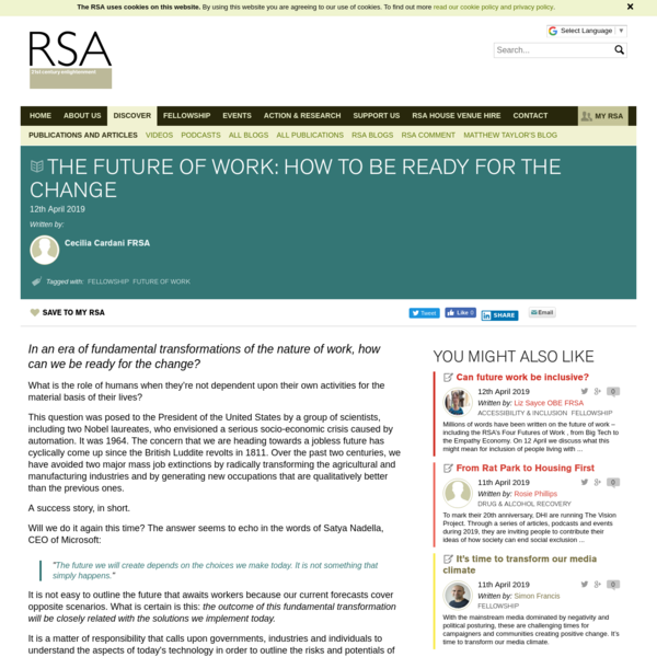 The Future of Work: how to be ready for the change - RSA