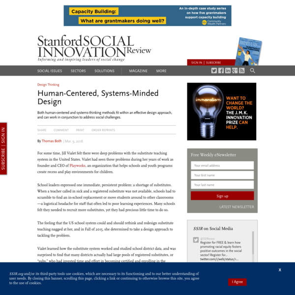Human-Centered, Systems-Minded Design (SSIR)