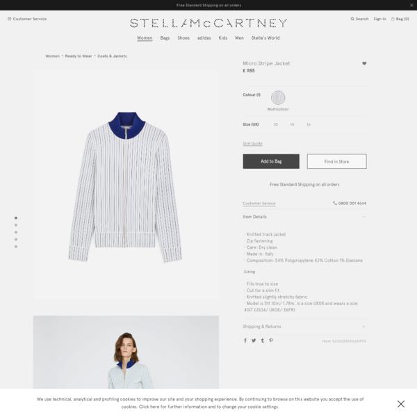 Micro Stripe Jacket   Women's   Stella McCartney