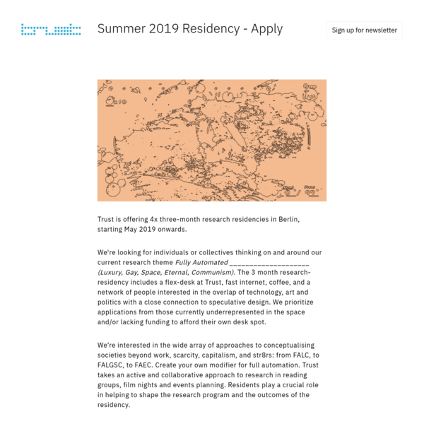 Trust - 4x Research Residencies - Apply Now for Summer 2019