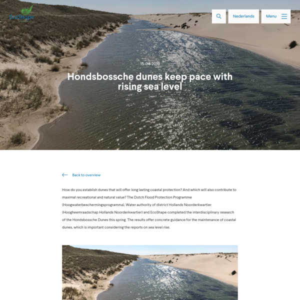 Hondsbossche dunes keep pace with rising sea level - Ecoshape