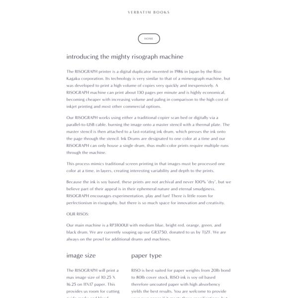 Risograph Printing for Hire - Verbatim Books