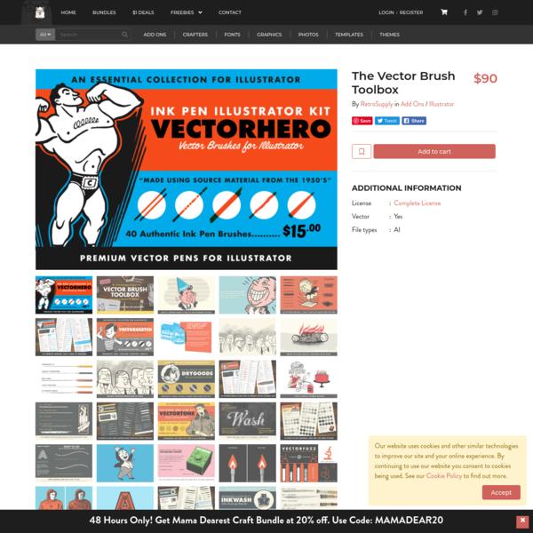 The Vector Brush Toolbox By RetroSupply | TheHungryJPEG.com