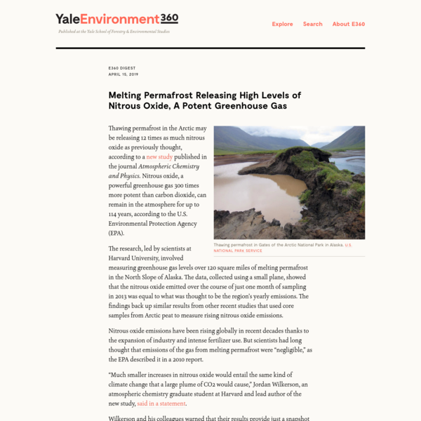 Melting Permafrost Releasing High Levels of Nitrous Oxide, A Potent Greenhouse Gas - Yale E360
