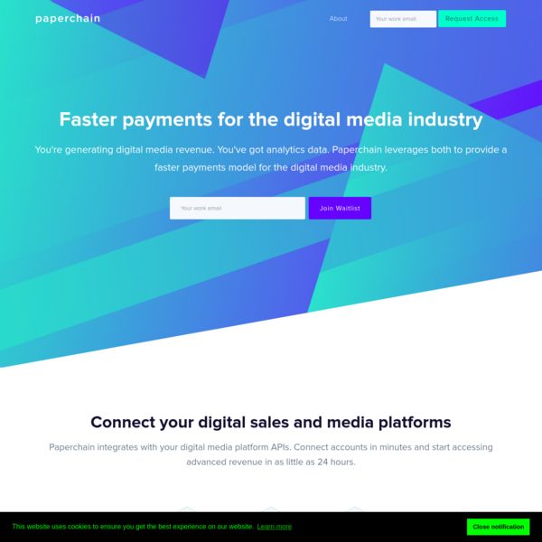 Get Paperchain - faster growth capital for digital media companies using real-time sales data.