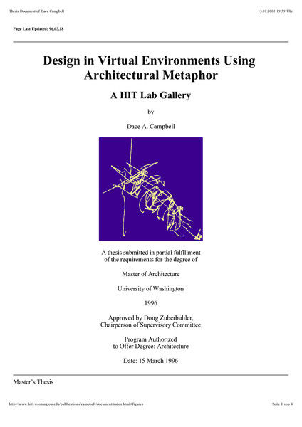 Design in Virtual Environments Using Architectural Metaphor