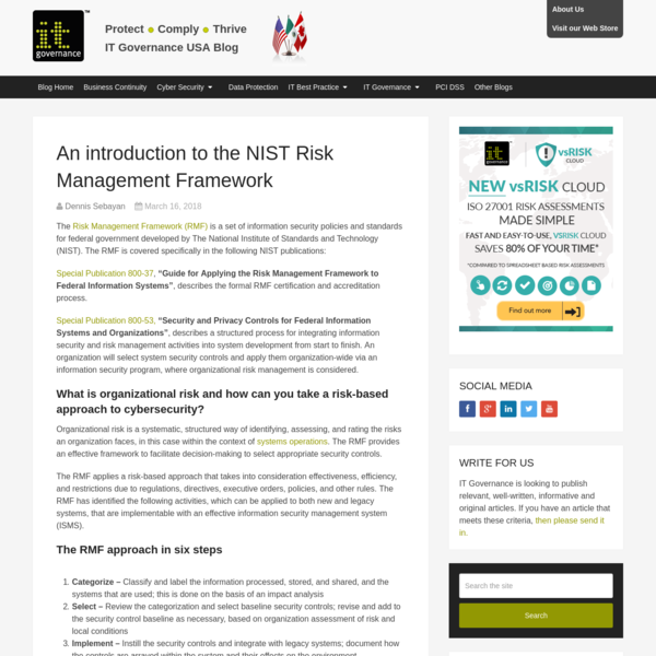 An introduction to the NIST Risk Management Framework - IT Governance USA Blog