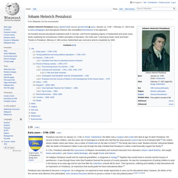 Johann Heinrich Pestalozzi - Wikipedia