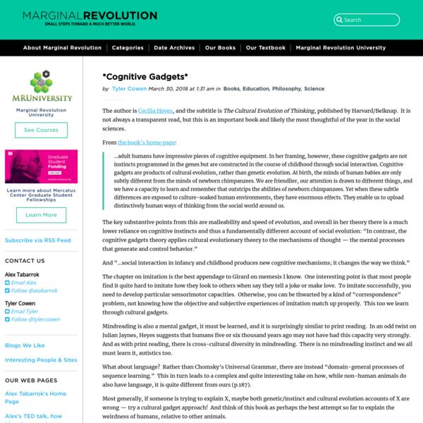 *Cognitive Gadgets* - Marginal REVOLUTION