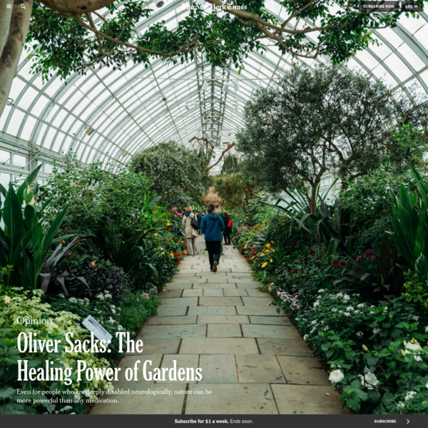 Opinion | Oliver Sacks: The Healing Power of Gardens