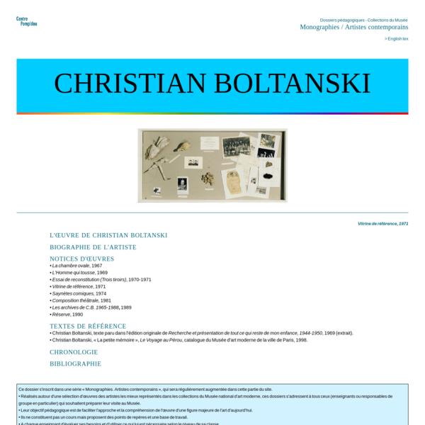 Centre Pompidou. Parcours pédagogique : Christian Boltanski