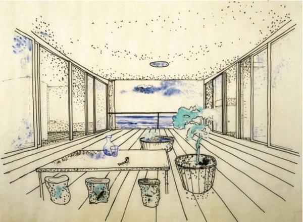 original sketch of la maison au bord de l'eau by charlotte perriand