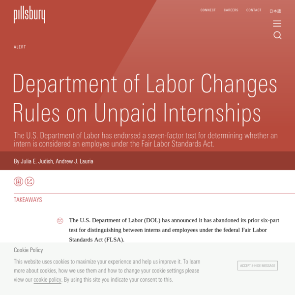 Department of Labor Changes Rules on Unpaid Internships