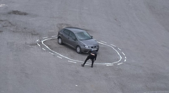 """self driving car trapped in a salt circle made of """"do not cross"""" symbols that its software won't let it disobey"""