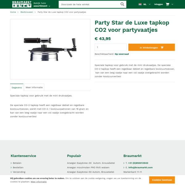 Party Star de Luxe tapkop CO2 voor partyvaatjes