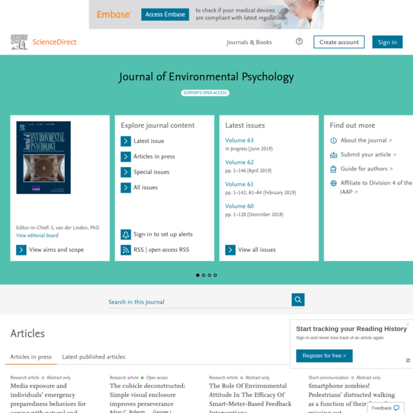 Read the latest articles of Journal of Environmental Psychology at ScienceDirect.com, Elsevier's leading platform of peer-reviewed scholarly literature