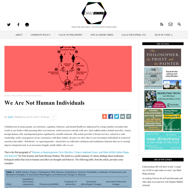 We Are Not Human Individuals | Daily Nous