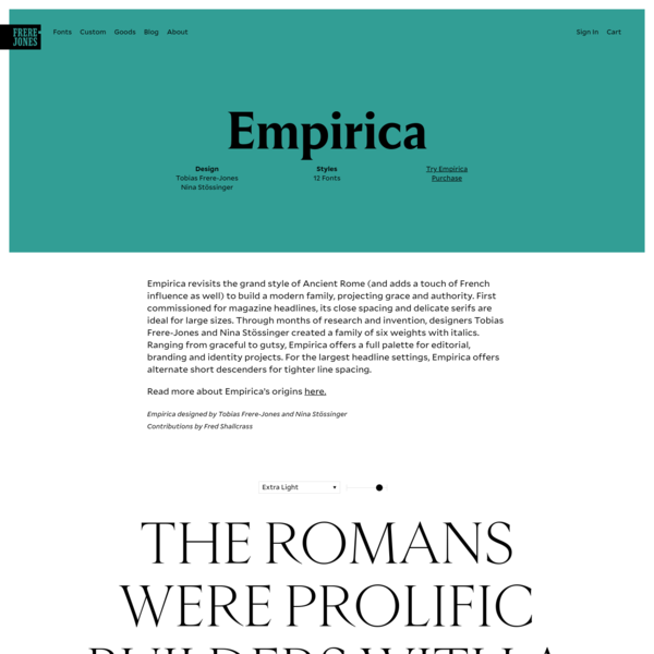 Grand, monumental style with close spacing and delicate serifs, ideal for larger sizes.