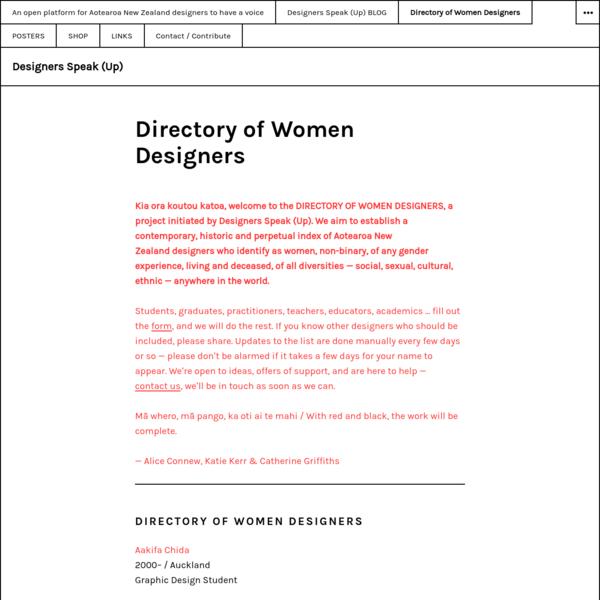 Directory of Women Designers - Designers Speak (Up)
