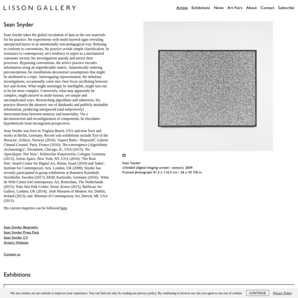 Sean Snyder   Artists   Lisson Gallery