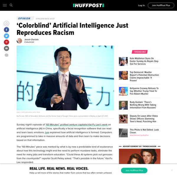 Opinion | 'Colorblind' Artificial Intelligence Just Reproduces Racism