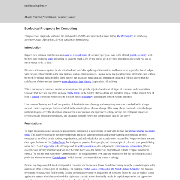Ecological Prospects for Computing