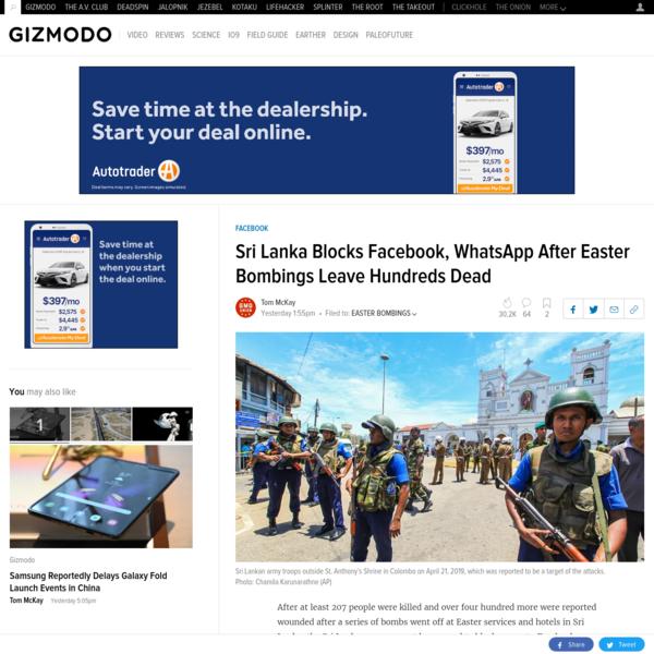 Sri Lanka Blocks Facebook, WhatsApp After Easter Bombings Leave Hundreds Dead