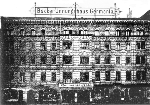 "Bakers' guildhall ""Germania"" at Chausseestr. 110 (ca. 1900)"