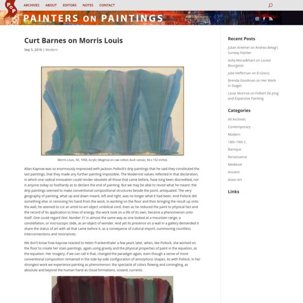 Curt Barnes on Morris Louis - Painters on Paintings