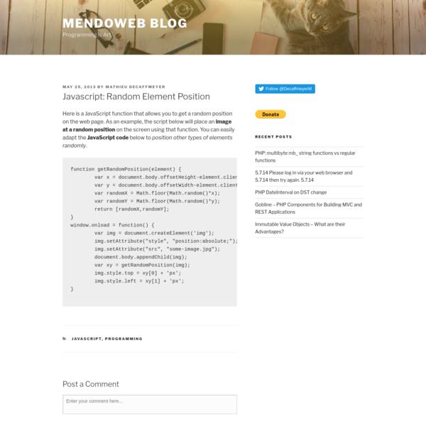 Javascript: Random Element Position - Mendoweb Blog