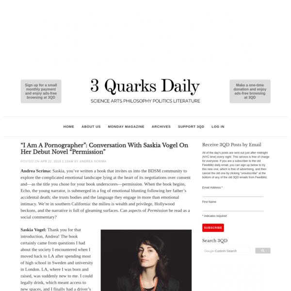 """""""I am a Pornographer"""": Conversation with Saskia Vogel on her debut novel """"Permission""""   3 Quarks Daily"""