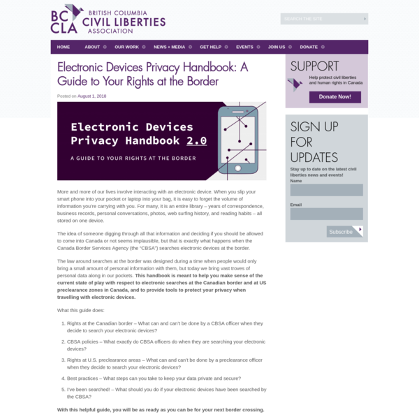 Electronic Devices Privacy Handbook: A Guide to Your Rights at the Border - BC Civil Liberties Association