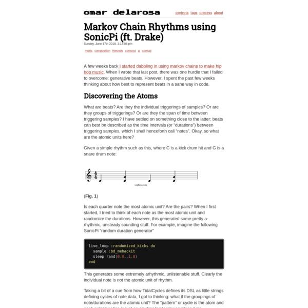 Markov Chain Rhythms using SonicPi (ft. Drake) | omardelarosa.com