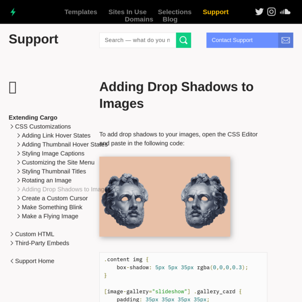 Adding Drop Shadows to Images - Cargo Support
